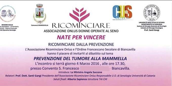 Biancavilla, domani dibattito sulla prevenzione del tumore alla mammella