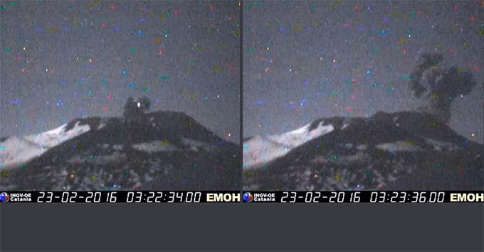 Etna, grande esplosione nella notte dal Cratere di Nord-Est
