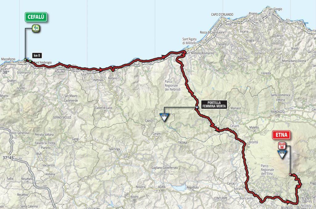 La cartina della tappa Cefalù-Etna. Clicca per ingrandire