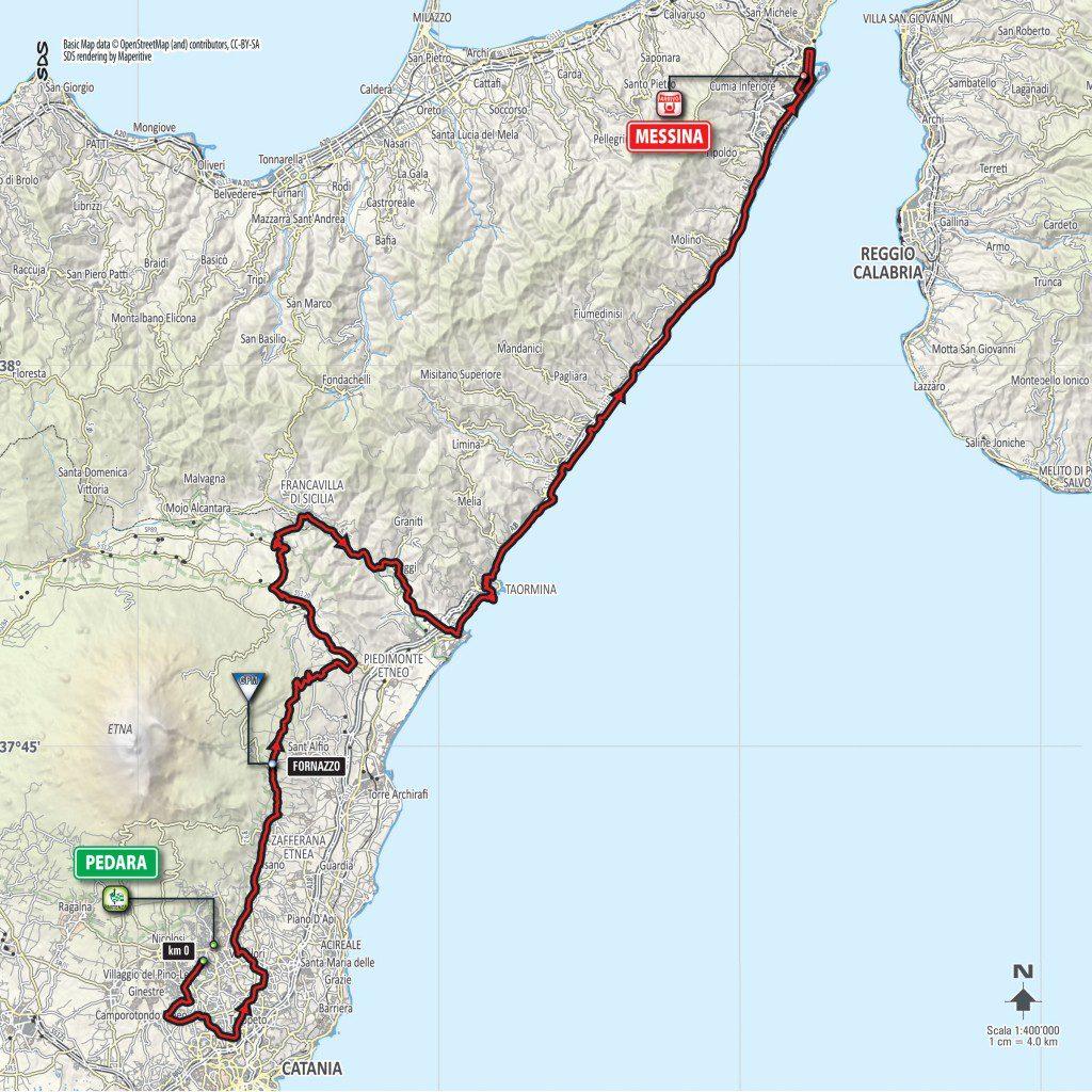 La cartina della Pedara-Messina. Clicca per ingrandire