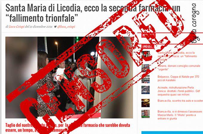 Santa Maria di Licodia, Mastroianni cancella da Facebook un nostro articolo. Signor sindaco, il suo è un atto di censura