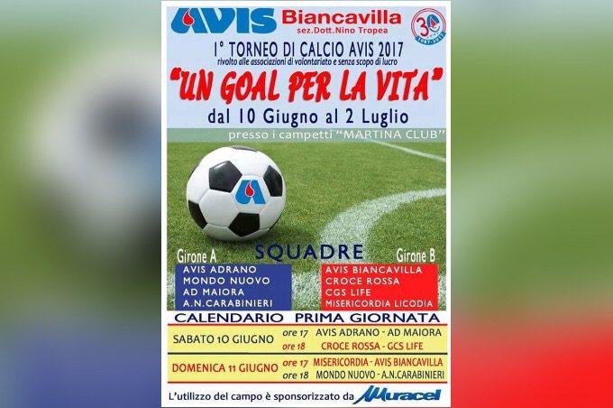"""Biancavilla, al via il 1° torneo di calcio Avis """"Un gol per la vita"""""""