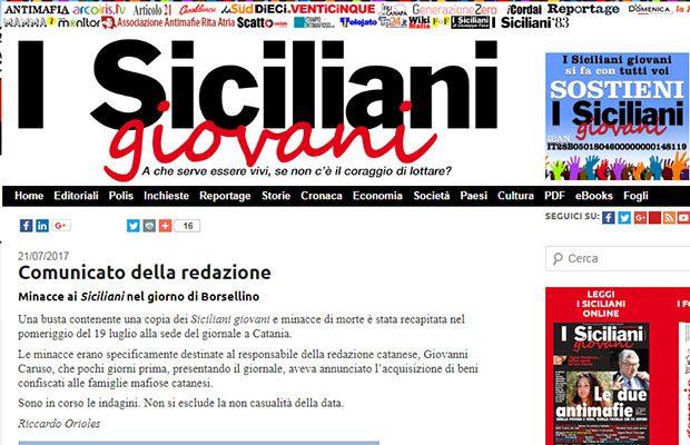 """Minacce mafiose a """"I Siciliani giovani"""", nel giorno dei ricordo di Borsellino"""