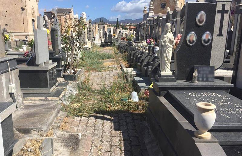 Adrano. Il cimitero tra sepolcri e sterpaglie