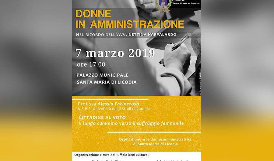"""Santa Maria di Licodia. Domani conferenza su """"Donne in amministrazione"""""""