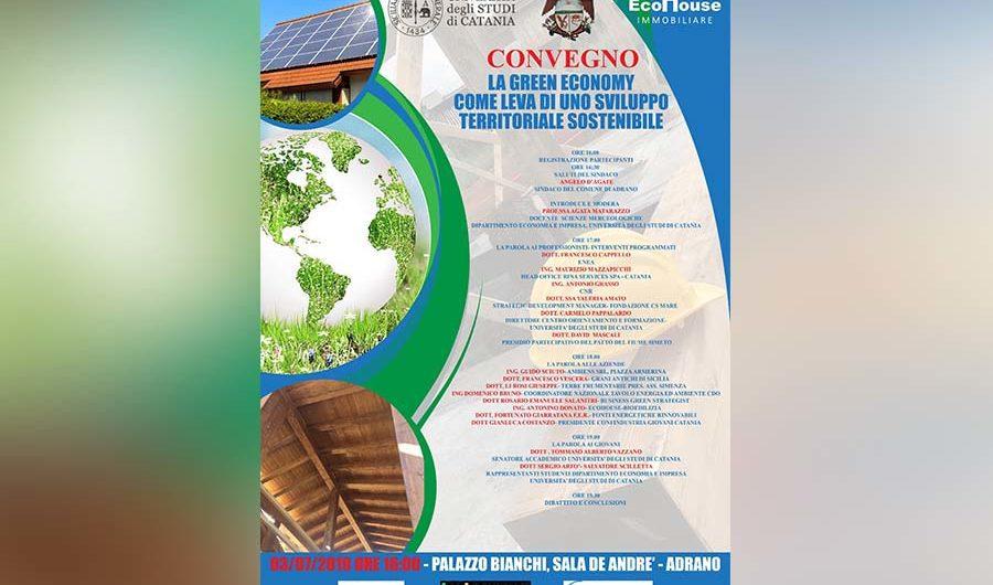 """Adrano. Domani convegno """"Green economy come leva di uno sviluppo territoriale sostenibile"""""""
