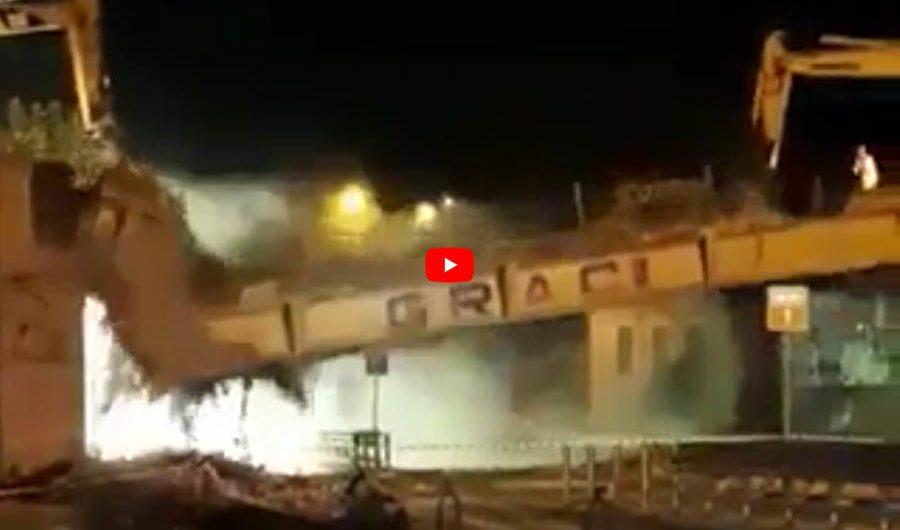 Statale 121: demolito il ponte Graci. Strada riaperta (VIDEO CROLLO)