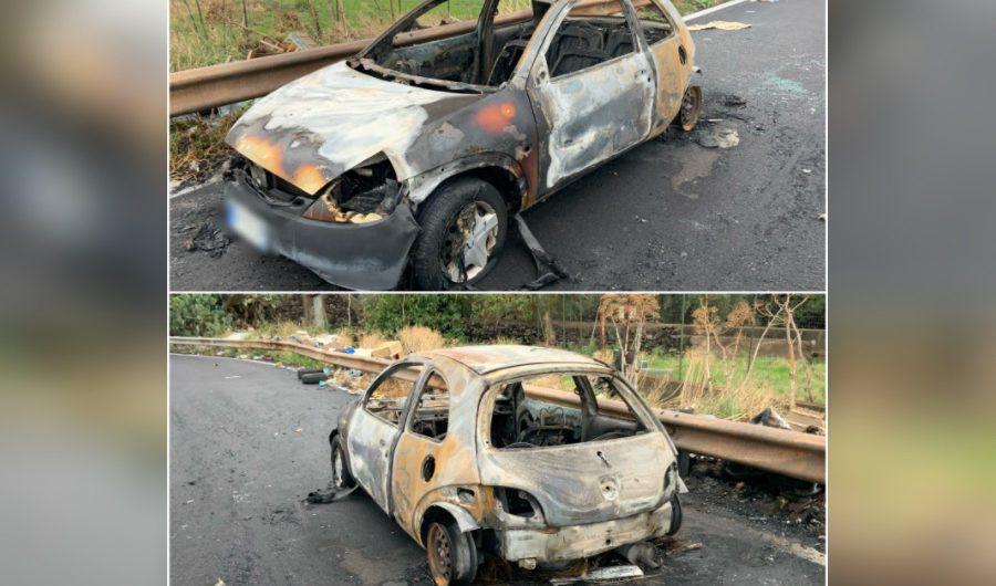 Ss284. Auto in fiamme nella notte tra Licodia e Paternò