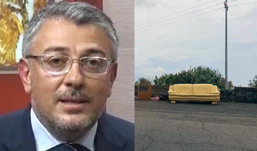 """Belpasso, il """"divano"""" sulla sp 4, sindaco Motta: «Competente la Città Metropolitana»"""
