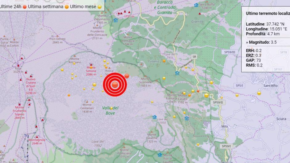 Etna. Scossa magnitudo 3.5 con epicentro Monti Centenari