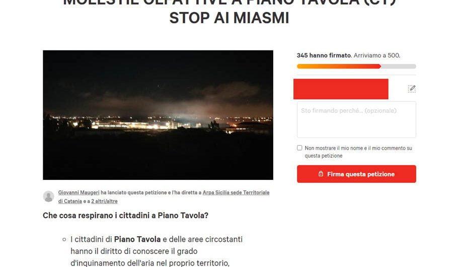 Piano Tavola. Area irrespirabile, petizione online e l'amministrazione comunale resta indifferente