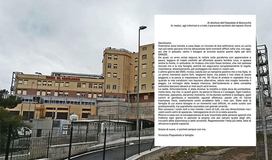 """""""Grazie"""", la lettera di un licodiese ricoverato per Covid all'ospedale di Biancavilla"""